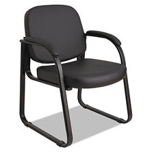 Alera Reception Lounge Series Vinyl Sled Base Guest Chair, Black