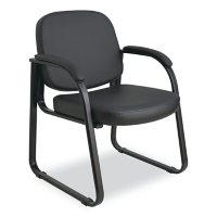Alera Reception Lounge Series Vinyl Sled Base Guest Chair, Black