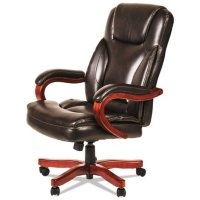 Alera Transitional Series Executive Wood Chair (Chocolate Marble Seat/Back, Walnut Base)
