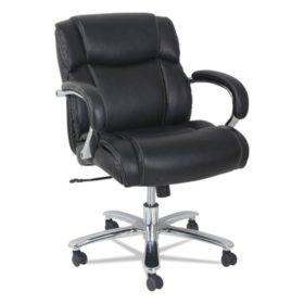 Alera Alera Maxxis Series Big and Tall Leather Chair, Black, Supports up to 350 lbs