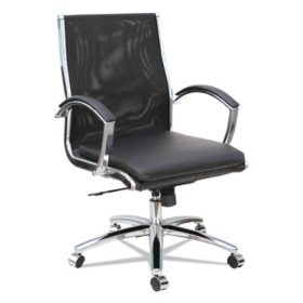 Alera Neratoli Mid-Back Slim Profile Chair, Black, Leather/Mesh