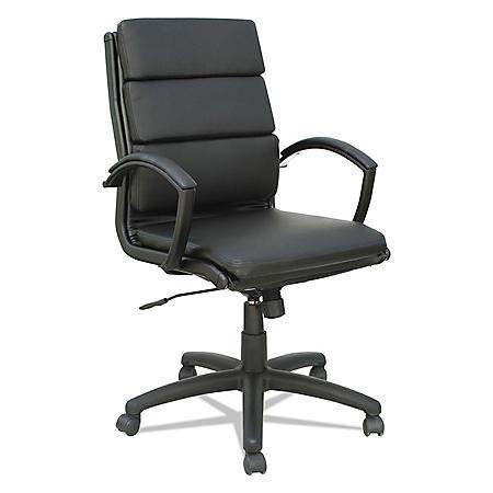 Alera Neratoli Mid-Back Slim Profile Chair, Black, Leather