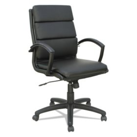 Alera Neratoli Mid-Back Slim Profile Chair, Black, Leather