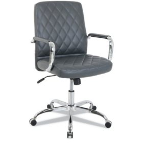 kathy ireland OFFICE by Alera Mid-Back Diamond-Embossed Leather Office Chair, 275 lb. Capacity, Choose a Color