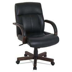 kathy ireland OFFICE by Alera Wood-Trim Leather Office Chair, Black Seat, 275 lb. Capacity