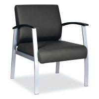 """Alera MetaLounge Series Mid-Back Guest Chair, 25"""" x 25.59"""" x 33.66"""" (Black Seat/Black Back, Silver Base)"""
