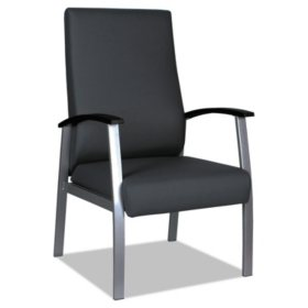 "Alera MetaLounge Series High-Back Guest Chair, 25"" x 26.37"" x 43.7"" (Black Seat/Black Back, Silver Base)"