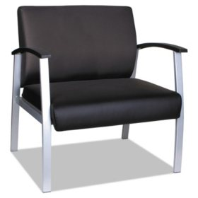 "Alera MetaLounge Series Bariatric Guest Chair, 31"" x 26"" x 33.63"" (Black Seat/Black Back, Silver Base)"
