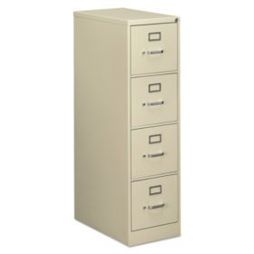 "Alera Four-Drawer Economy Vertical File Cabinet, Letter, 15""W x 25""D x 52""H, Putty"