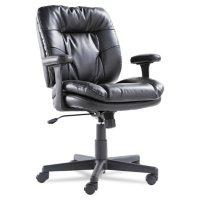 OIF Swivel/Tilt Leather Task Chair, Black