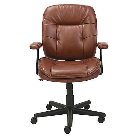 OIF Swivel/Tilt Leather Task Chair, Fixed T-Bar Arms, Chestnut Brown