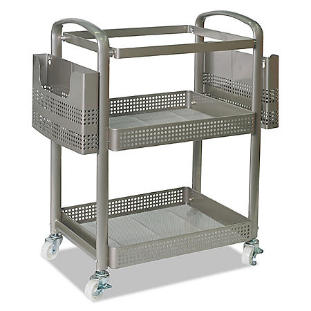 Alera 3-Shelf Wire Cart with Liners, 28.5W x 16D x 39H (Silver)