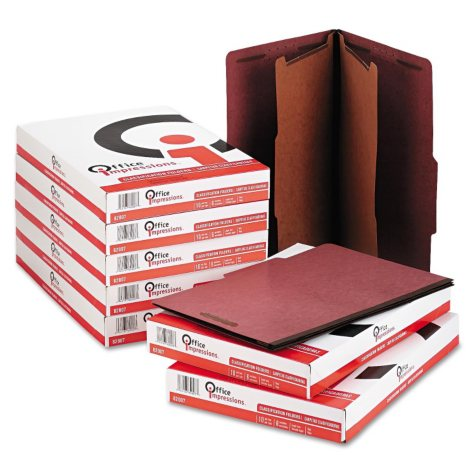 Office Impressions 6-Section Pressboard Classification Folders, Ruby Red (Legal, 10 ct.)