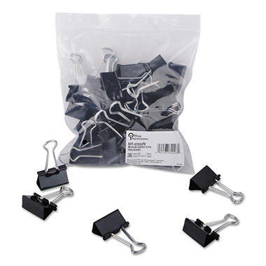 Office Impressions - Binder Clips, Medium - 12 Per Box - 12 Boxes - 144 Total Clips