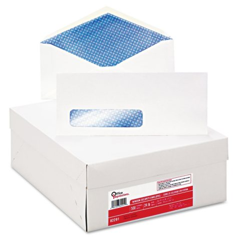 Office Impressions - Security Tint Window Envelopes, #10, White - 500/Box