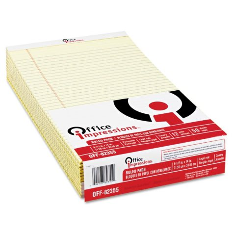 Office Impressions Perforated Edge Writing Pad - Legal/Margin Rule - Legal - Canary - 50-Sheet - 12 pk.