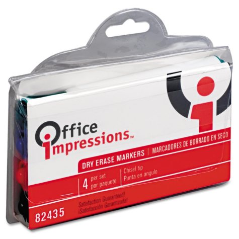 Office Impressions Dry Erase Markers, Assorted Colors (Chisel Tip, 4 ct.)