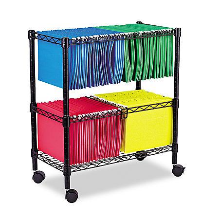 "Alera 26"" 2-Tier Rolling File Cart, Black"