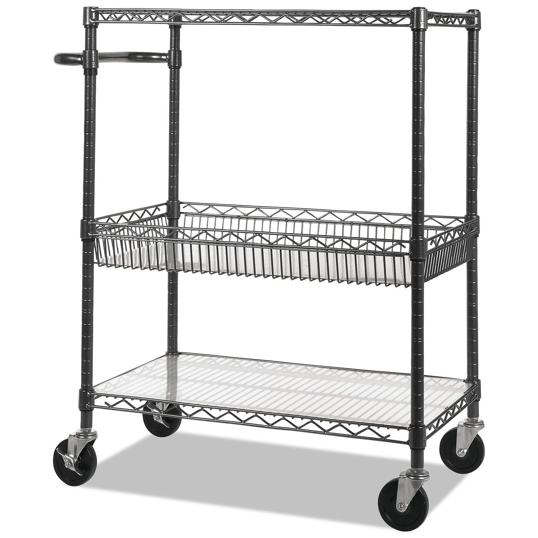 Alera 40 Inch 3-Tier Wire Rolling Cart (Black Anthracite)