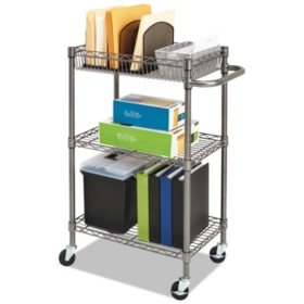 "Alera 39"" Three-Tier Wire Rolling Cart, Black Anthracite"