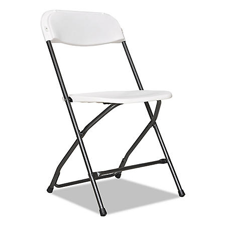 Alera Economy Resin Folding Chair, White/Black Anthracite - 4 pack