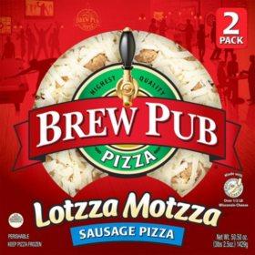 Brew Pub Lotzza Motzza Sausage Pizza, Frozen (2 pk.)