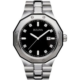 Men's Bulova Diamond Accent Watch with Black Dial