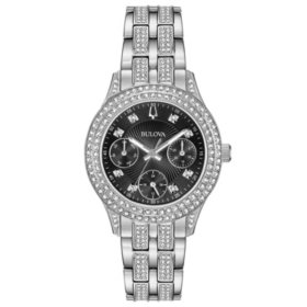 Bulova Women's Crystal Watch with Black Dial