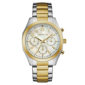 Caravelle Women's Two Tone Chronograph Watch with Mother of Pearl Dial