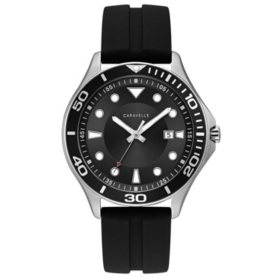 Caravelle Men's Stainless Steel Watch with Black Silicone Strap