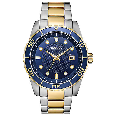 Bulova Men's Two Tone Bracelet with Blue Dial