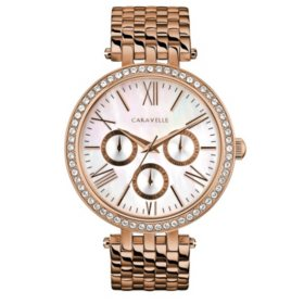 Caravelle Women's Rose Gold Crystal Watch with Mother of Pearl Dial