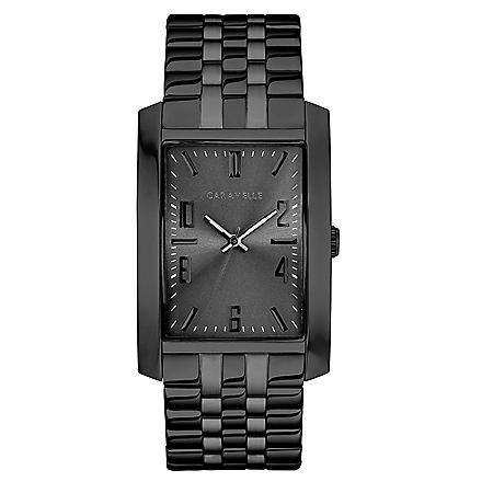 Caravelle Men's Black IP Stainless Steel Watch