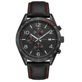 Caravelle Men's Chronograph Watch with Black Leather Strap