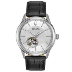 Bulova Men's Automatic Watch with Black Leather Strap