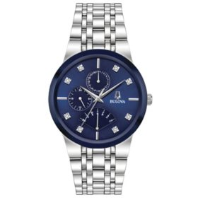 Bulova Men's Stainless Steel Watch, Blue Multi-Function Dial