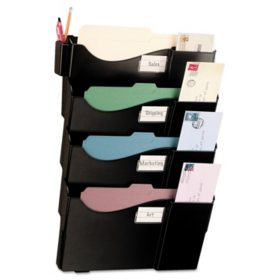 Officemate Grande Central Wall Filing System, Four Pockets, 16 5/8 x 4 3/4 x 23 1/4, Black