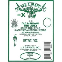 Bar X Brand Old Fashioned Beef Jerky Green Chile Style (7oz)