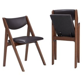 Stakmore Comfort Wood Folding Chair, 2 Pack