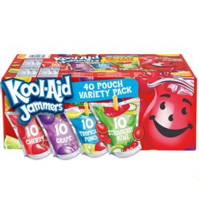 Kool-Aid Jammers Tropical Punch, Grape and Cherry Artificially Flavored Soft Drink Variety Pack (6 fl. oz. pouches, 40 ct.)