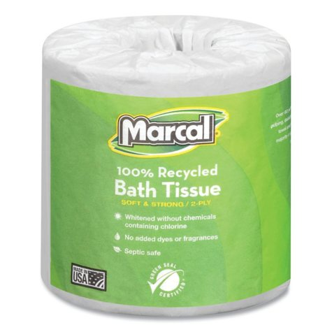 Marcal - Small Steps Recycled Bath Tissue, 2-Ply, 336 Sheets - 48 Rolls
