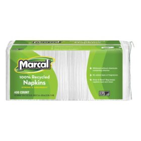 Marcal 100% Premium Recycled Luncheon Napkins - 6 pkgs./400 ct. each - 2,400 ct. total