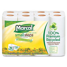 Marcal Small Steps 100% Recycled 2-Ply Toilet Tissue -  96 Rolls/Carton