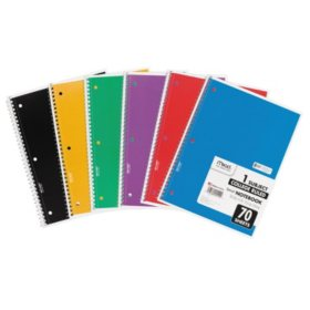 Mead Spiral Bound Notebook - College Rule - 8 x 10-1/2 - White - 1  Subject - 70 Sheets/Pad