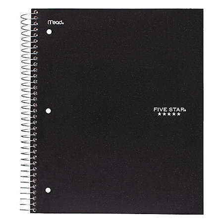 Mead - Five Star Wirebound Notebook, College Rule, 3-hole Punch, 5 Subject 200 Sheets per Pad