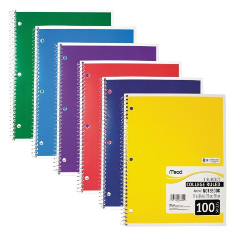 Mead Spiral Bound Notebook - College Rule 8 1/2 x 11 - 100 sheets