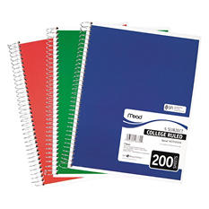 Mead 5 Subject Notebook, College Rule, 8-1/2 x 11, White, 200 Sheets per Pad