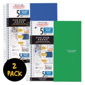 "Five Star® Wirebound Notebook, 5 Subject, College Ruled, 11"" x 8 1/2"", 2 Pack, Assorted Colors (Color Choice Not Available)"