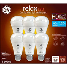 GE 60W Equivalent Soft White (2,700K) High Definition A19 Dimmable LED Light Bulb (6-Pack)