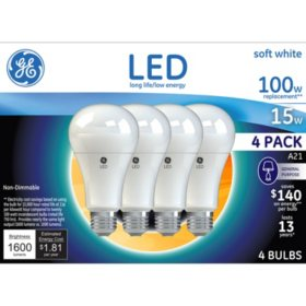 GE Soft White 100W Replacement LED Light Bulbs General Purpose A21 (4-pack)